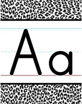 Alphabet Line - Black & White Leopard Print