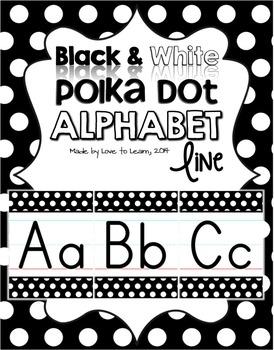 Alphabet Line - Black & White Polka Dot