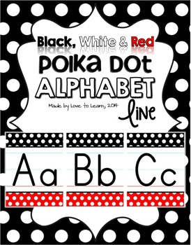 Alphabet Line - Black, White & Red Polka Dot