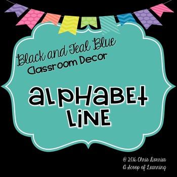 Alphabet Line - Black and Blue Teal