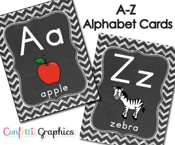 Alphabet Line Cards Chalkboard 2 per Page Chevron A-Z Manuscript Word Wall