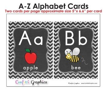 Alphabet Line Cards Chalkboard 2 per Page Chevron A-Z Manuscript Word Wall