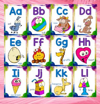 Alphabet Line Cards-Rainbow