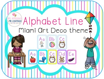 Alphabet Line Classroom Theme (Pink, Blue, Purple, Yellow)
