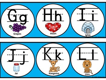 Alphabet Line; Cool Blue Alphabet Line Upper/Lowercase Print Letters