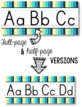 Alphabet Line - Cool Shades Vertical Stripes