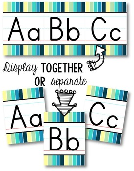 Alphabet Line - Cool Shades Vertical Stripes