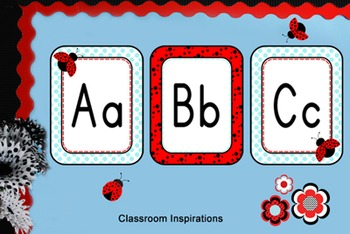 Alphabet Line - Coordinates with Ladybugs and Dots Classroom Theme