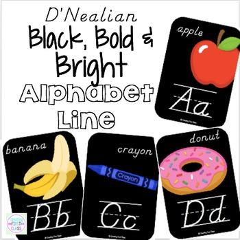 Alphabet Line D'Nealian: Black, Bright, and Modern!