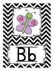 Alphabet Line Display Cards - Black and White Chevron