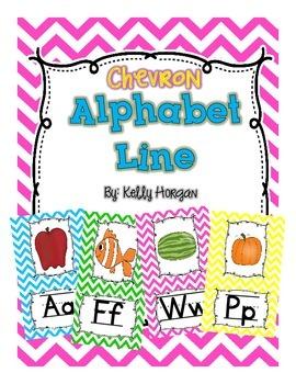 Alphabet Line Display Cards - Chevron