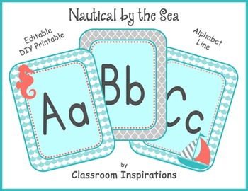 Alphabet Line – Editable - Coordinates with Nautical Classroom Theme