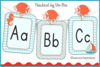 Alphabet Line – Editable - Coordinates with Nautical Classroom Theme