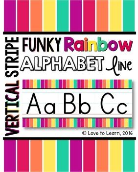 Alphabet Line - Funky Rainbow Vertical Stripes