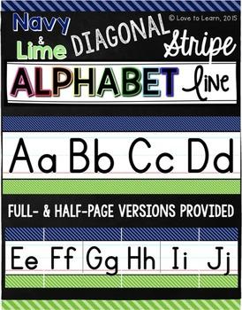 Alphabet Line - Navy & Lime Diagonal Stripe