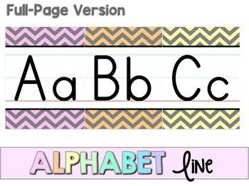 Alphabet Line - Pastel & Gray Chevron