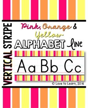 Alphabet Line - Pink, Orange & Yellow Vertical Stripes