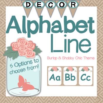 Alphabet Line Posters - Burlap and Shabby Chic Themed