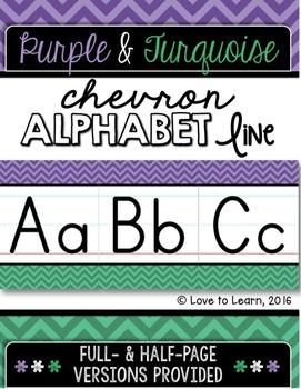 Alphabet Line - Purple & Turquoise Chevron