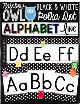 Alphabet Line - Rainbow Owl with Black & White Polka Dots