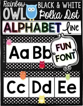 Alphabet Line - Rainbow Owl with Black & White Polka Dots {Fun Font}