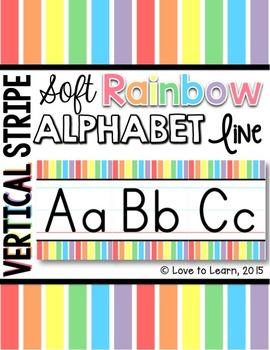 Alphabet Line - Soft Rainbow Vertical Stripes