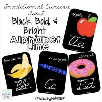 Alphabet Line Traditional Cursive: Black, Bright, and Modern!