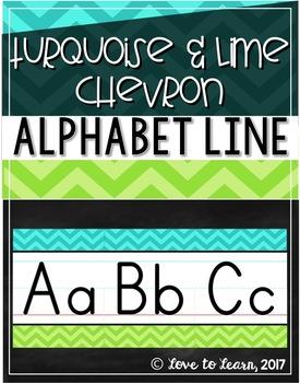 Alphabet Line - Turquoise & Lime Chevron
