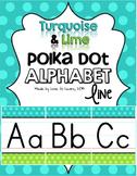 Alphabet Line - Turquoise & Lime Polka Dot