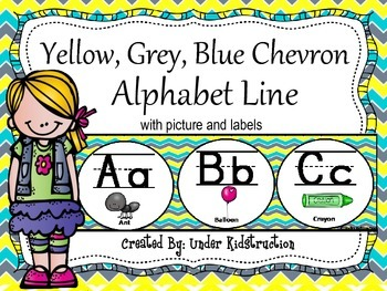 Alphabet Line; Yellow, Blue, Grey Chevron Theme; 2 sizes available