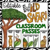 Safari Themed Editable School Passes- Jungle Themed Class