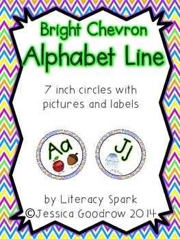 Alphabet Line with Pictures {Circles - Bright Chevron}