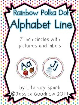 Alphabet Line with Pictures {Circles - Rainbow Polka Dot}