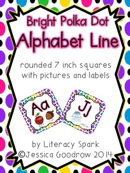 Alphabet Line with Pictures {Rounded Squares - Bright Polka Dot}