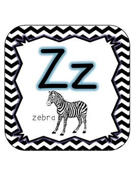 Alphabet Line with Pictures {Rounded Squares - Chevron}