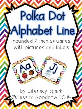 Alphabet Line with Pictures {Rounded Squares - Rainbow Chevron}
