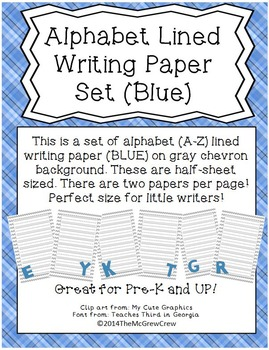 Alphabet Lined Writing Paper Set BLUE