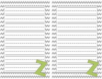 Alphabet Lined Writing Paper Set GREEN