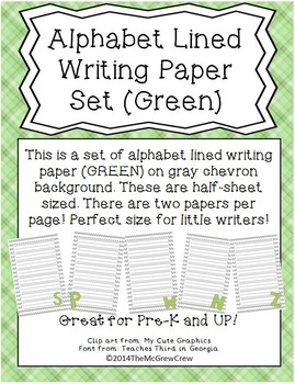 Alphabet Lined Writing Paper Set GREEN