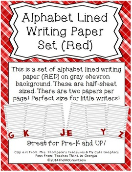 Alphabet Lined Writing Paper Set RED