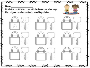 Alphabet Locks Response Sheets