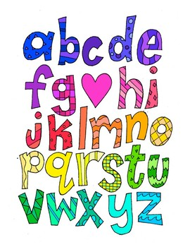 Alphabet Lowercase DESIGN Coloring Page