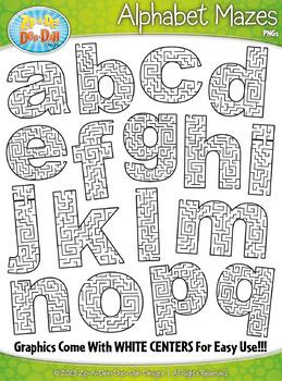 Alphabet Lowercase Letters Shaped Mazes Clipart {Zip-A-Dee-Doo-Dah Designs}