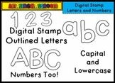 Alphabet Lowercase and Capital Letters and Numbers Digital Stamps Clip Art Set