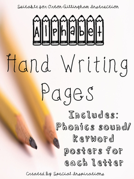 Alphabet Manuscript Hand Writing Worksheets w/ Orton-Gillingham Keywords