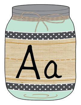 Alphabet Manuscript Mason Jars Mint Green (Editable)