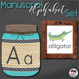 Alphabet Manuscript Mason Jars Turquoise (Editable)