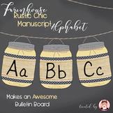 Alphabet Manuscript Mason Jars Corn Husk Yellow (Editable)