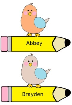 Little Birdy Name Tags - FREEBIE