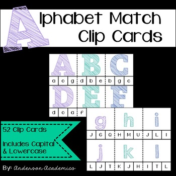 Alphabet Match Clip Cards - Capital & Lowercase